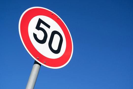 German road sign: speed limit 50 km/h