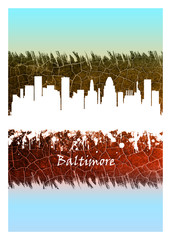 Wall Mural - Baltimore skyline Blue and White