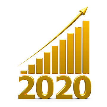Business graph up with 2020