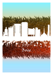 Wall Mural - Boise skyline Blue and White