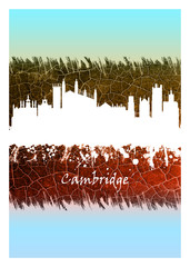 Wall Mural - Cambridge Skyline Blue and White