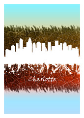 Wall Mural - Charlotte Skyline Blue and White