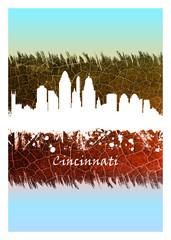 Wall Mural - Cincinnati Skyline Blue and White