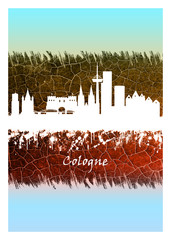 Wall Mural - Cologne Skyline Blue and White