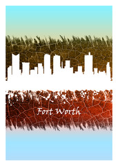 Wall Mural - Fort Worth Skyline Blue and White