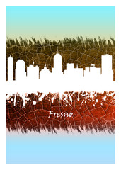 Wall Mural - Fresno Skyline Blue and White