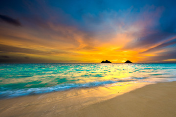 Fototapete - Sunrise at Lanikai Beach in Kailua, Oahu, Hawaii