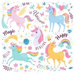 Unicorns collection. Vector illustration of cute cartoon multicolored Unicorns with rainbow mane. Isolated on white background.