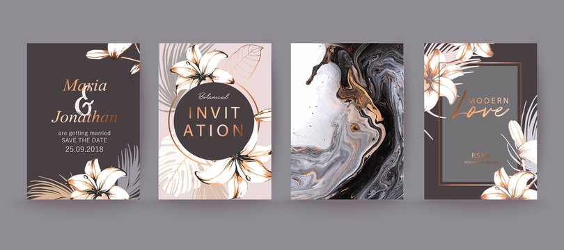 Black, white and gold marble texture card. Floral, lilies decorative bouquet with palm leaves.