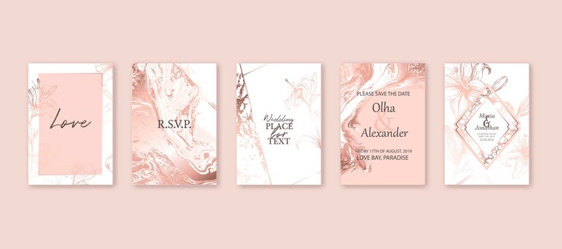 Rose gold marble texture card. Floral, lilies bouquet wedding invitation design. Liquid art background.
