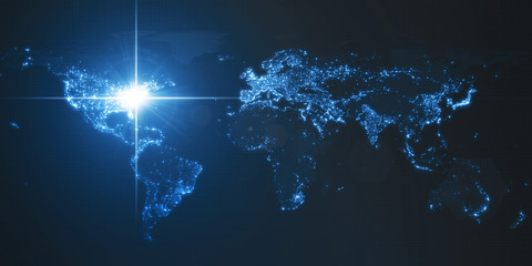 power of america, energy beam on washington. dark map with illuminated cities and human density areas. 3d illustration