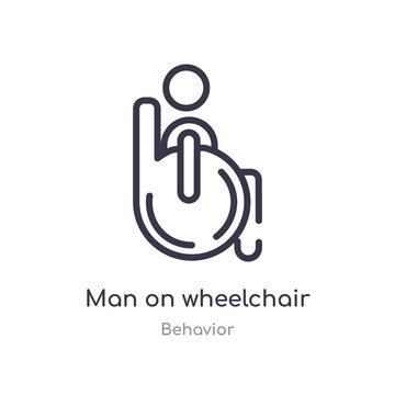 man on wheelchair outline icon. isolated line vector illustration from behavior collection. editable thin stroke man on wheelchair icon on white background