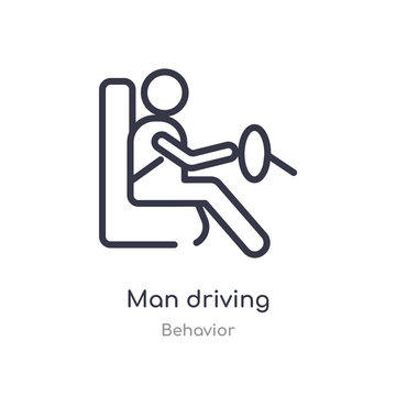 man driving outline icon. isolated line vector illustration from behavior collection. editable thin stroke man driving icon on white background