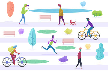 Stylized male and female people walking with pets, cycling, running, listening to the misic, enjoying time, texting in the city park. Flat cartoon trendy vector illustration.