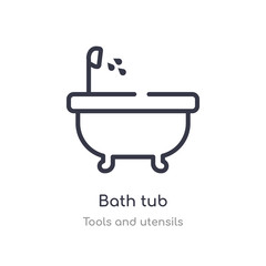 bath tub outline icon. isolated line vector illustration from tools and utensils collection. editable thin stroke bath tub icon on white background