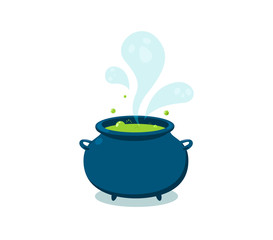 Claudron with boiling green liquid. Isolated Vector Illustration
