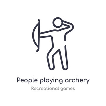 people playing archery outline icon. isolated line vector illustration from recreational games collection. editable thin stroke people playing archery icon on white background