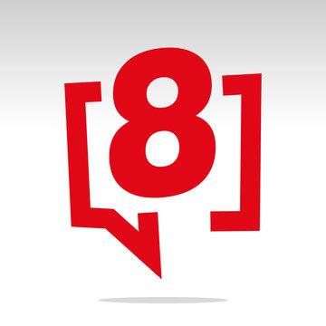 Number eight 8 red speech brackets isolated logo icon sticker element
