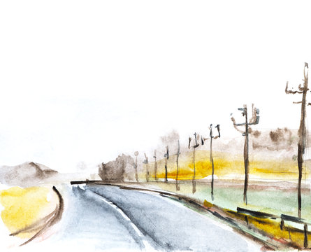 Road landscape. Road to the horizon. Cypress alley. Roadside poles with electric cable. Yellow fields. Blurred obscure tree silhouettes. Hand-drawn watercolor sketch illustration