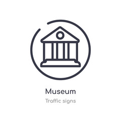 museum outline icon. isolated line vector illustration from traffic signs collection. editable thin stroke museum icon on white background