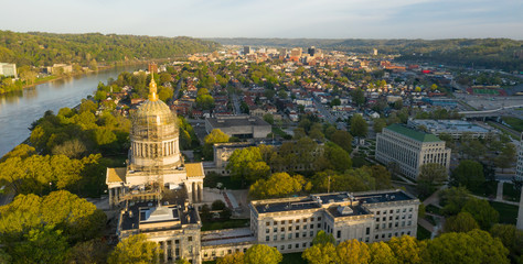 Long Panoramic View Charleston West Virginia Capitol City Wall mural