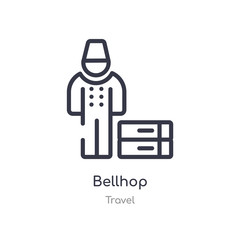 bellhop outline icon. isolated line vector illustration from travel collection. editable thin stroke bellhop icon on white background