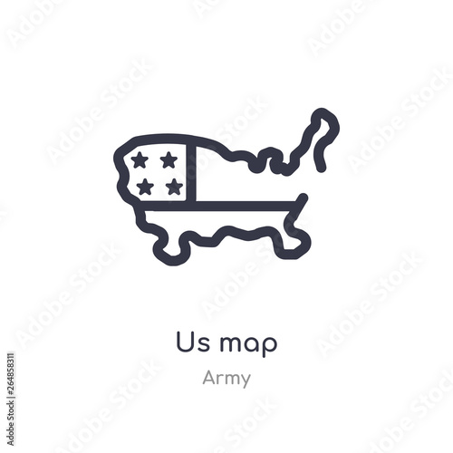 us map outline icon. isolated line vector illustration from ...