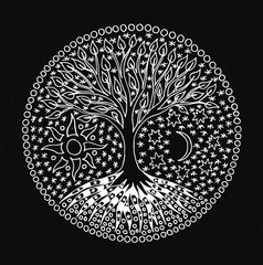 The tree of life. Symbolic black and white hand drawing. Pixel graphics. White picture on black background.