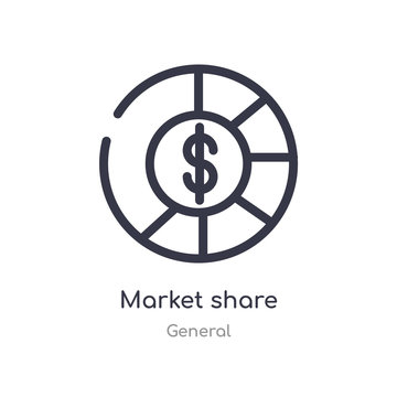 market share outline icon. isolated line vector illustration from general collection. editable thin stroke market share icon on white background