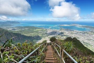 Lush mountain scenes from a ridge trail on Oahu, Hawaii overlooking Kaneohe, Kailua and the windward side of the island