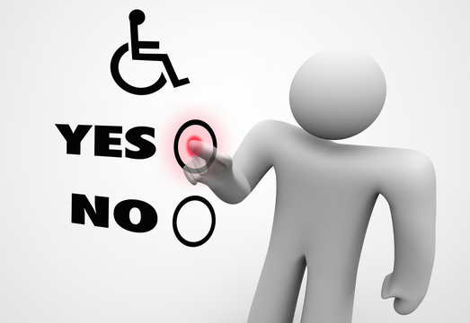 Wheelchair Disabled Person Symbol Disability Select Choose Option 3d Illustration