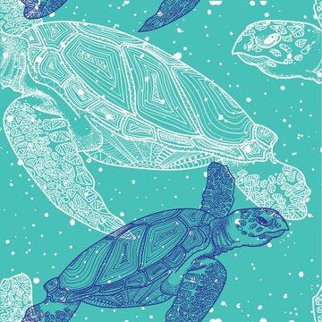 Seamless pattern with sea turtles. Marine life. Doodling, mandala pattern. Drawing by hand. Stylish background.