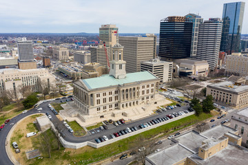 Wall Mural - Aerial drone photo of the Tennessee State Capitol and Downtown Nashville