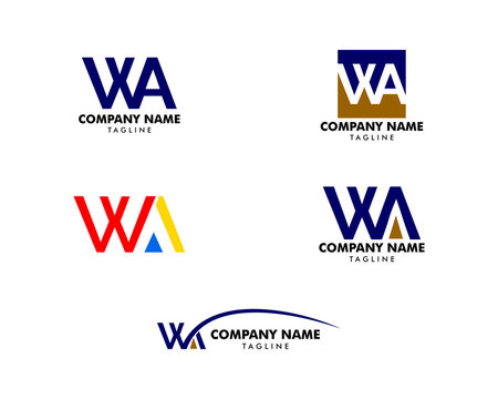 Set of Initial Letter WA Logo Template Design
