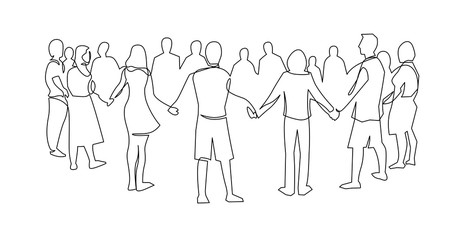Unity, friendship continuous single line drawing. People, friends holding hands together.