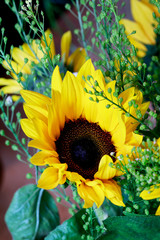 Wall Mural - Bouquet with sunflowers.