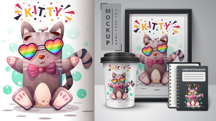 Cat with glass - mockup for your idea