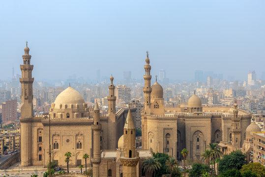 Aerial view of Cairo city from Salah Al Deen Citadel (Cairo Citadel) with Al Sultan Hassan and Al Rifai Mosques, Cairo, Egypt