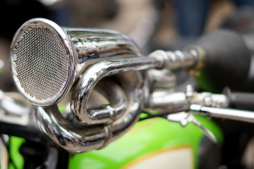 Closeup of vintage sound horn of a motor bike or bicycle