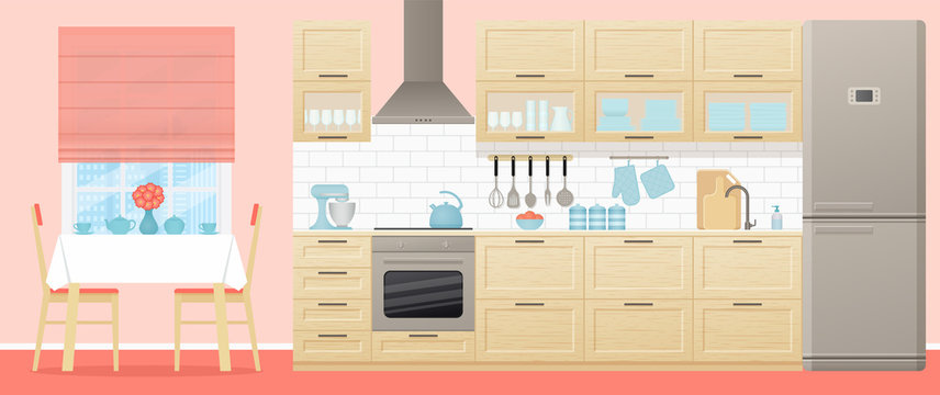 Kitchen interior. Vector. Room with appliances, furniture dining table, stove, cupboard, blender, fridge and window in flat design. Cartoon illustration. Cooking banner.
