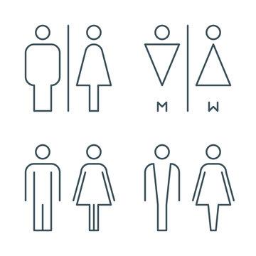 thin line toilet door signs