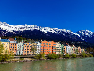 colorful buildings on the river in Innsbruck Austria