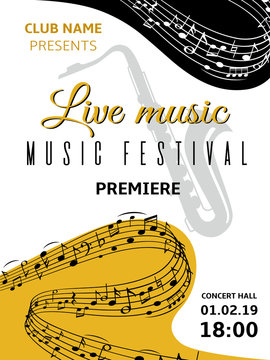 Music notes background. Abstract swirl wave musical note treble clef harmony stave classical music festival choir jazz poster. Vector illustration musically pattern
