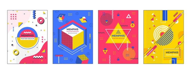 Modern abstract posters. Memphis geometric banners flyers billboards backgrounds, hipster print creative vector shapes for brochures posters