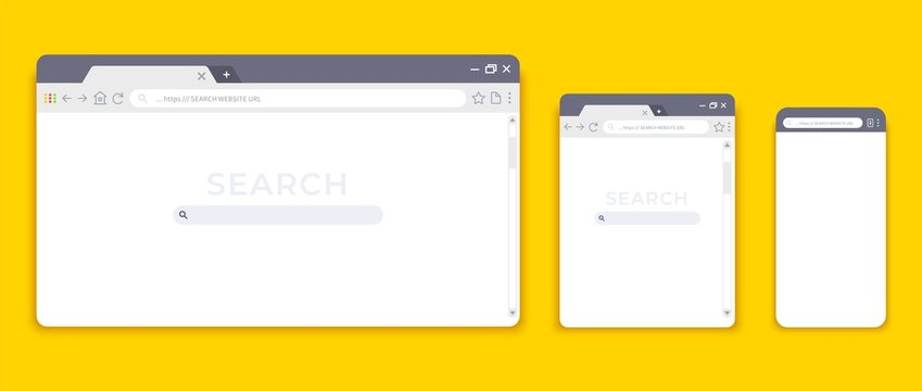 Browser mockups. Website interface for different devices, empty laptop tablet and mobile internet page. Vector browser window modern design
