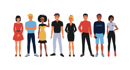 Cartoon employee team. Office workers group, happy young people smiling men and women standing together. Vector illustration team students and workers