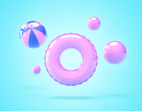 Inflatable swimming ring and beach balls on blue background