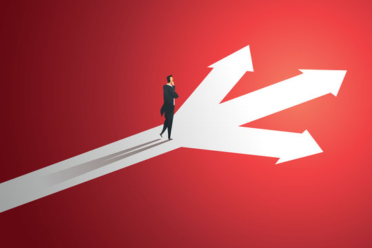 Business person looks at arrow up path three way  to goal success. illustration Vector