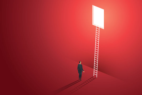Business people vision climbing ladder through hole on wall red solution opportunities creative concept. illustration vector