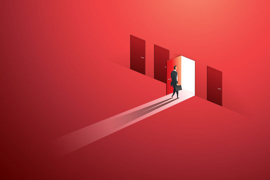 Businessman walking open door of choice path to goal success on wall red. illustration Vector